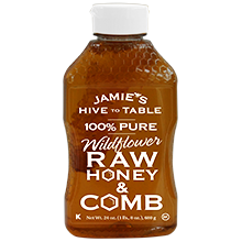 24oz. 100% PURE Wildflower RAW HONEY & COMB