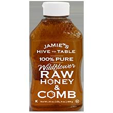 24oz. 100% PURE Wildflower RAW HONEY & COMB